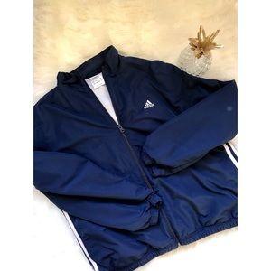 {Adidas} ClimaProof Blue Three Stripe ZIPUp Jacket